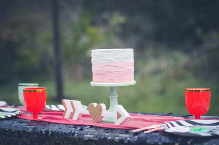 Ombre cake and glitter arrow from a Valentine Playdate Party on Kara's Party Ideas | KarasPartyIdeas.com (25)