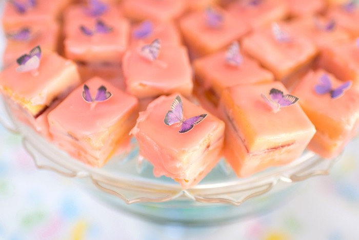 Butterfly-topped dessert squares from a Vintage Retirement Tea Party on Kara's Party Ideas | KarasPartyIdeas.com (27)