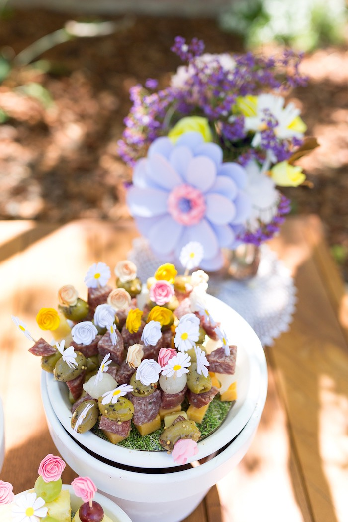 Meat and cheese kabobs topped with flowers from a Vintage Retirement Tea Party on Kara's Party Ideas | KarasPartyIdeas.com (17)