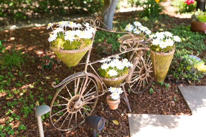 Vintage bicycle with flowers from a Vintage Retirement Tea Party on Kara's Party Ideas | KarasPartyIdeas.com (16)