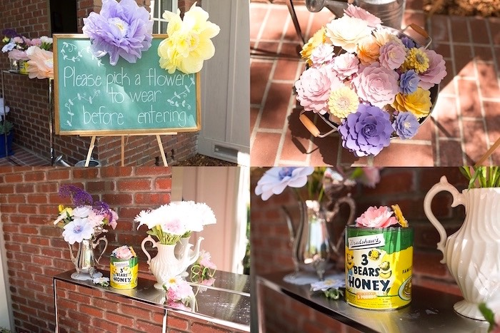 Floral decor from a Vintage Retirement Tea Party on Kara's Party Ideas | KarasPartyIdeas.com (10)