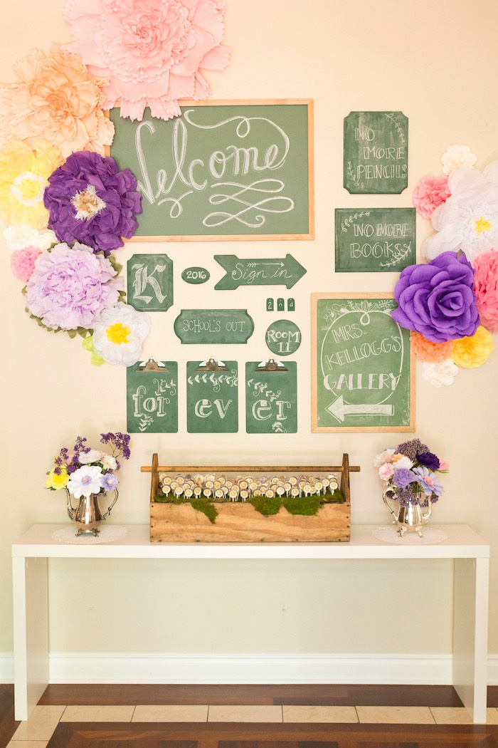 Chalkboard party table from a Vintage Retirement Tea Party on Kara's Party Ideas | KarasPartyIdeas.com (34)