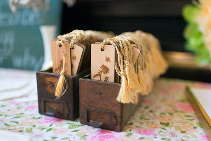Wooden bookmark favors from a Vintage Retirement Tea Party on Kara's Party Ideas | KarasPartyIdeas.com (32)