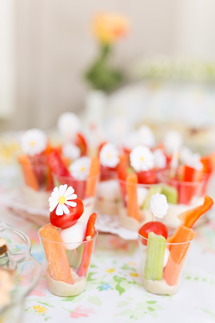 Veggie cups from a Vintage Retirement Tea Party on Kara's Party Ideas | KarasPartyIdeas.com (29)
