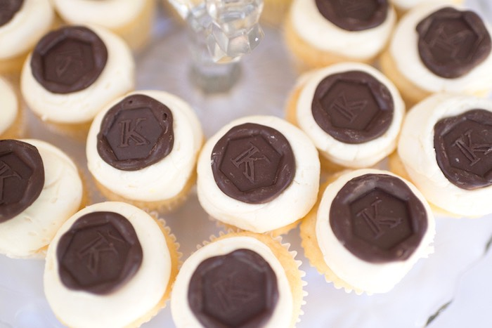 Cupcakes with letter stamped chocolate toppers from a Vintage Retirement Tea Party on Kara's Party Ideas | KarasPartyIdeas.com (28)