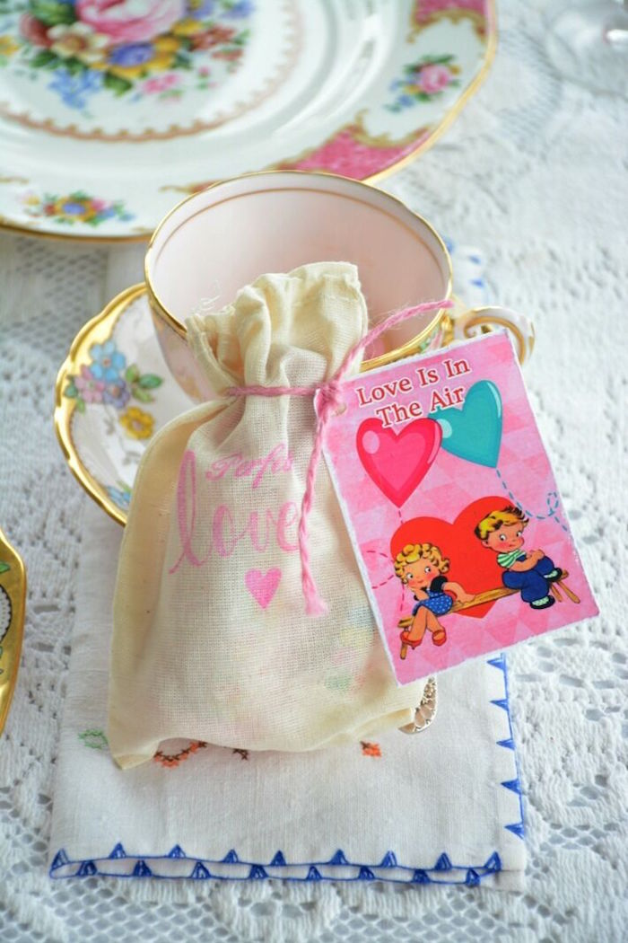 Drawstring muslin favor bag with vintage tag from a Vintage Valentine's Day High Tea Party on Kara's Party Ideas | KarasPartyIdeas.com (11)