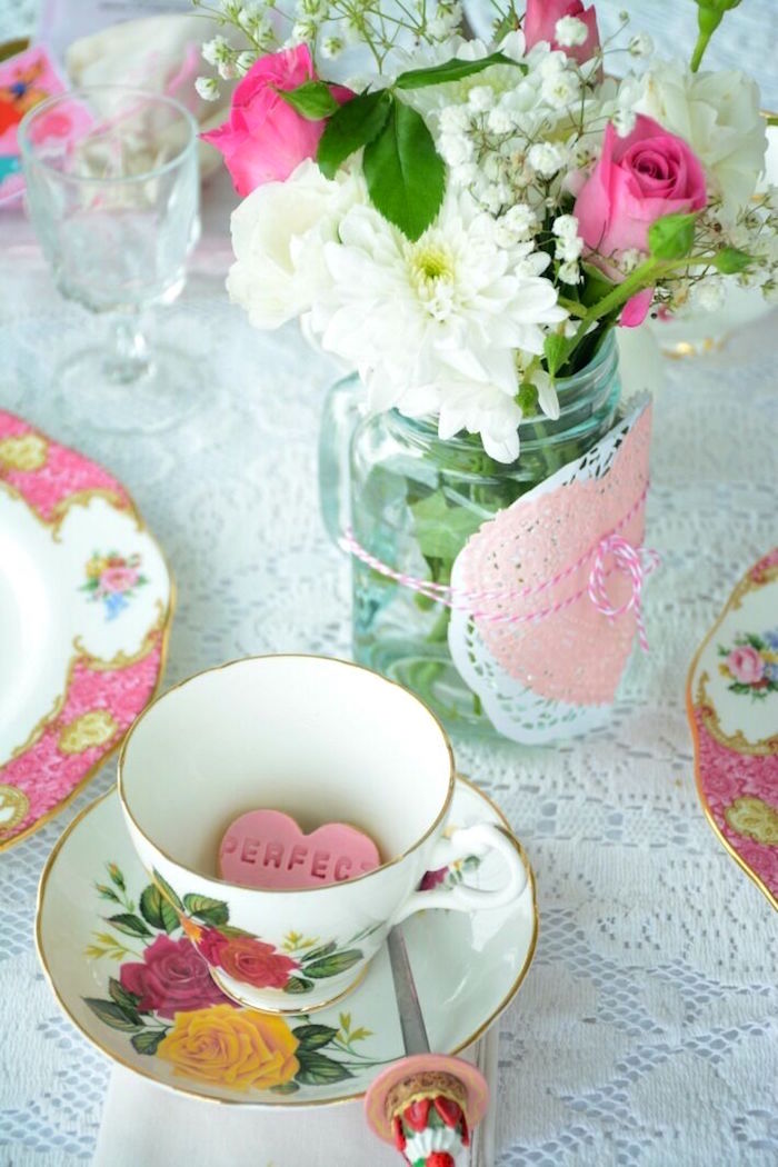 Doily-tied floral arrangement from a Vintage Valentine's Day High Tea Party on Kara's Party Ideas | KarasPartyIdeas.com (6)