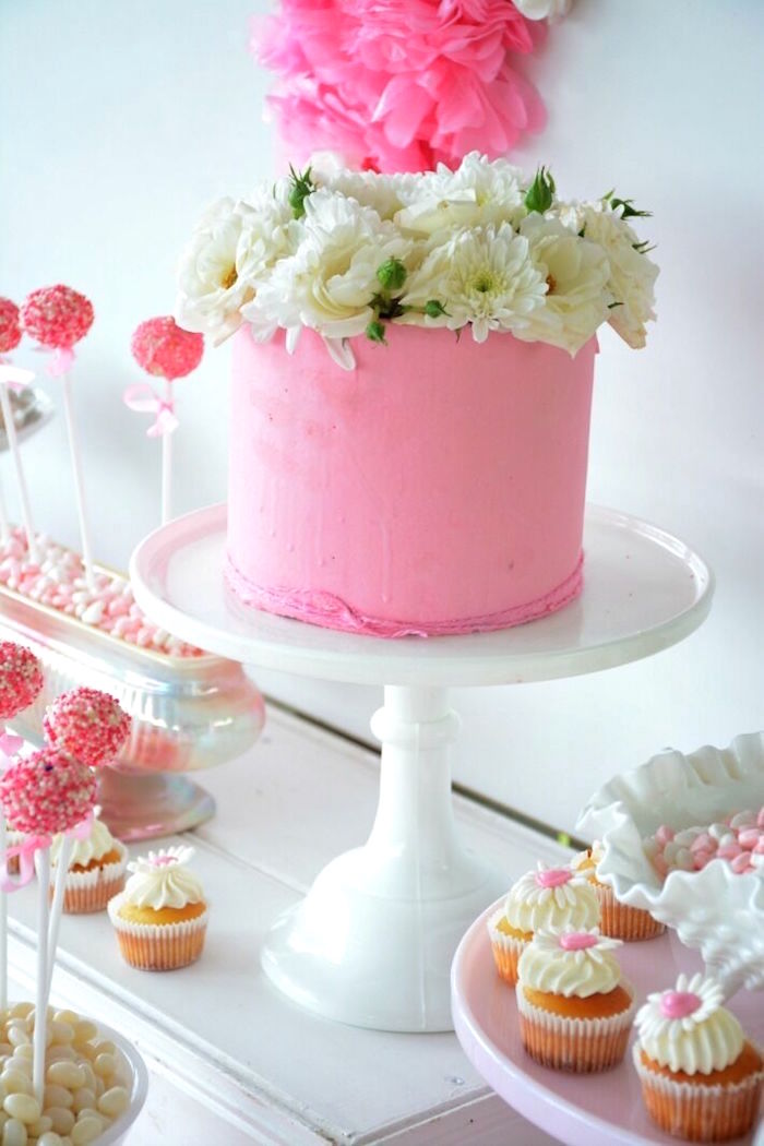 Pink cake topped with fresh white flowers from a Vintage Valentine's Day High Tea Party on Kara's Party Ideas | KarasPartyIdeas.com (5)