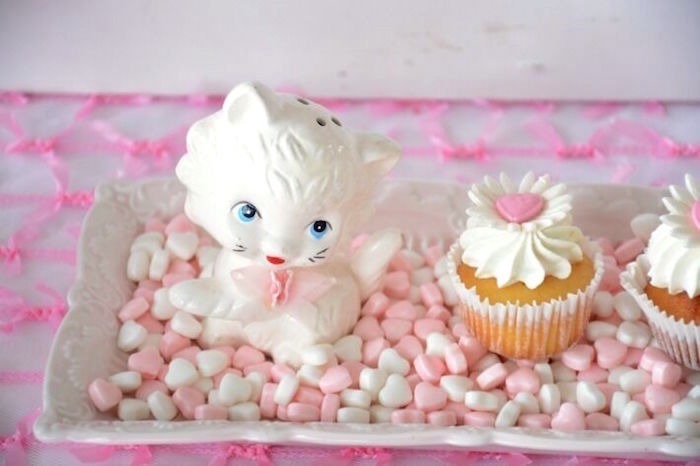 Cupcake and kitty from a Vintage Valentine's Day High Tea Party on Kara's Party Ideas | KarasPartyIdeas.com (19)