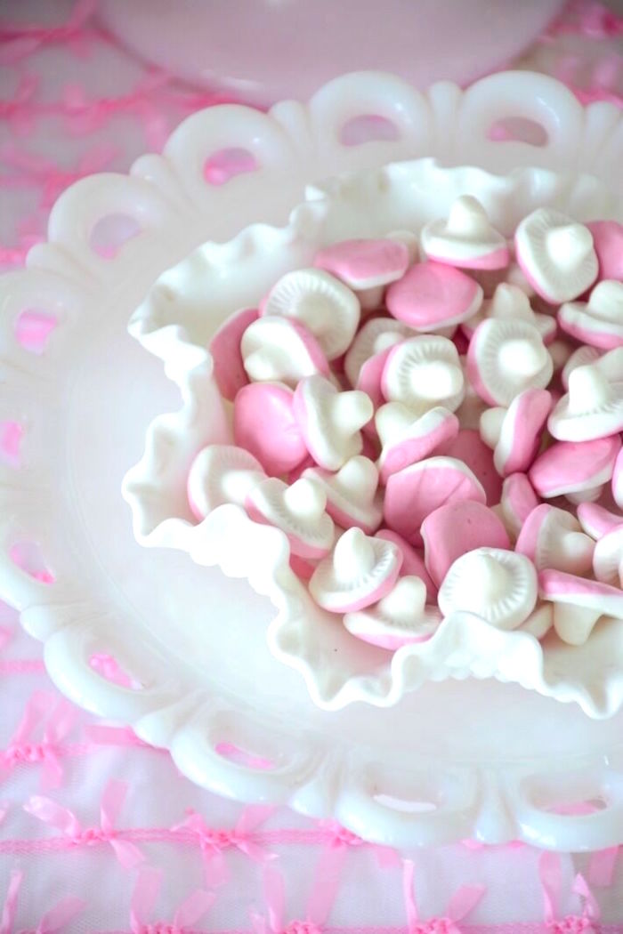 White and pink gummy candy from a Vintage Valentine's Day High Tea Party on Kara's Party Ideas | KarasPartyIdeas.com (15)