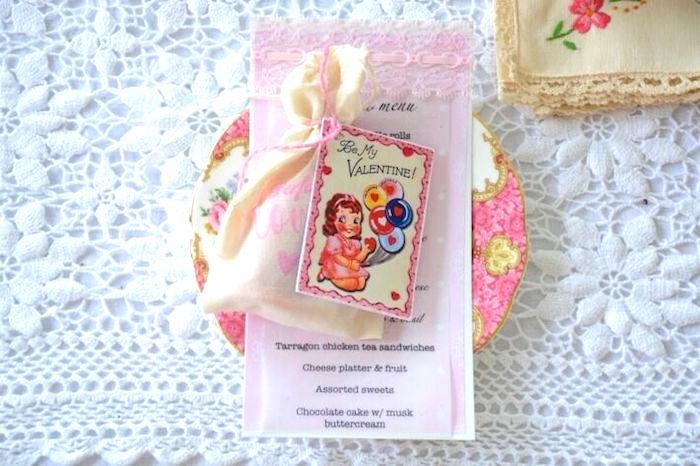 vintage menu and drawstring favor bag from a vintage valentines day high tea party on karas