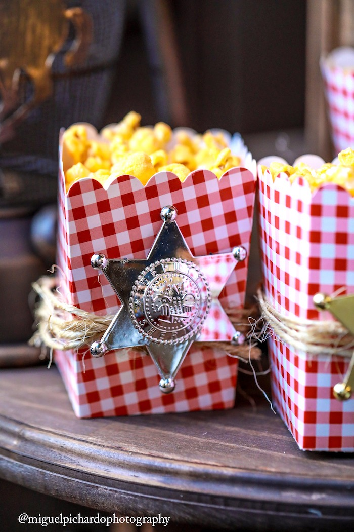Sheriff badge popcorn from a Western Cowboy Birthday Party on Kara's Party Ideas | KarasPartyIdeas.com (12)