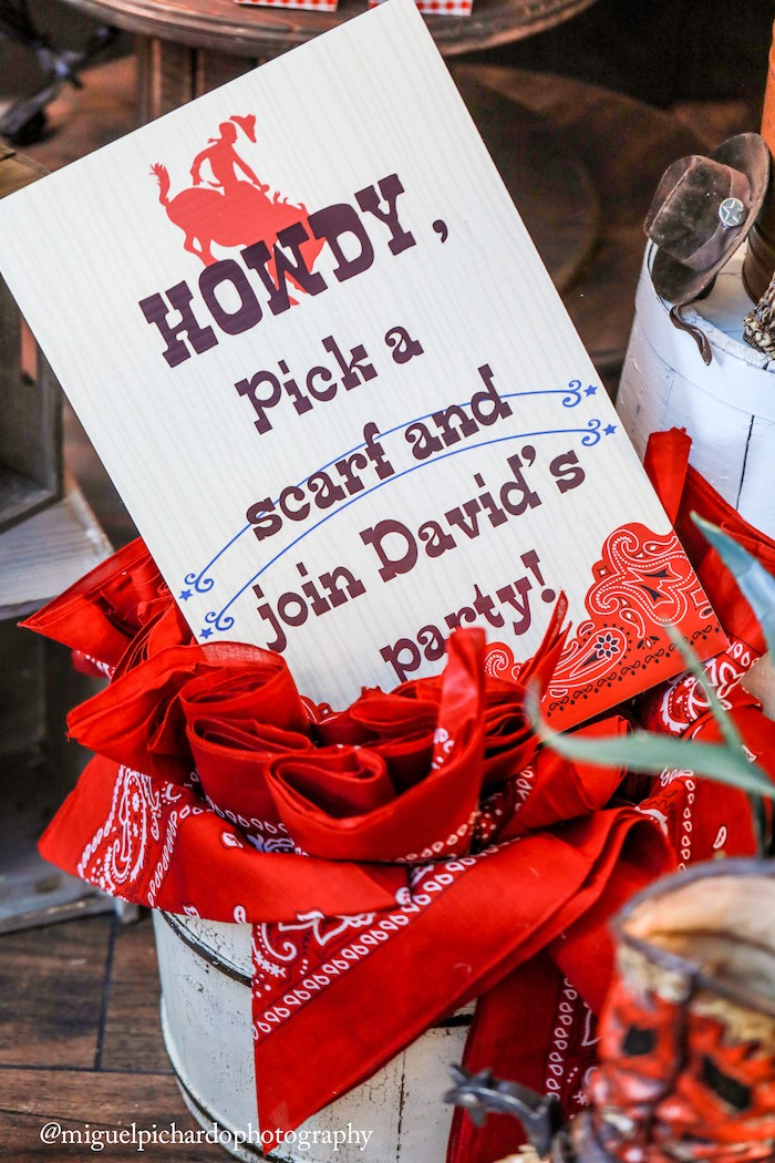 Bandana favors from a Western Cowboy Birthday Party on Kara's Party Ideas | KarasPartyIdeas.com (10)