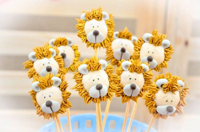 Cowardly Lion cake pops from a Wizard of Oz Birthday Party on Kara's Party Ideas | KarasPartyIdeas.com (17)