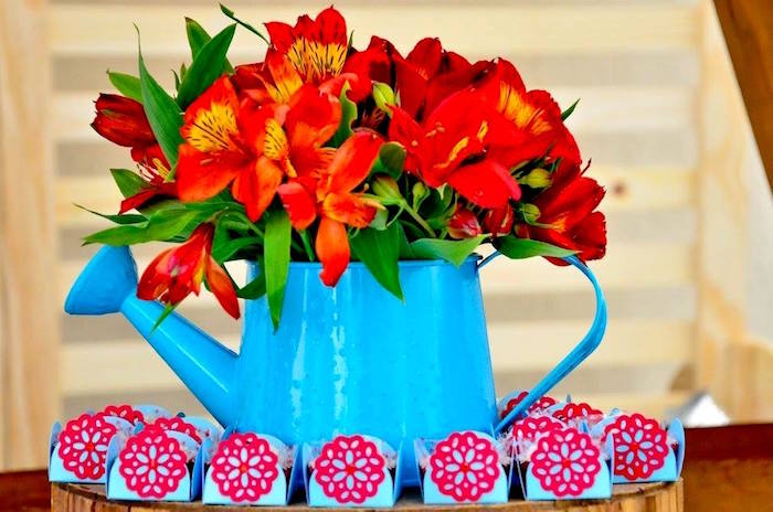 Watering can floral arrangement from a Wizard of Oz Birthday Party on Kara's Party Ideas | KarasPartyIdeas.com (23)