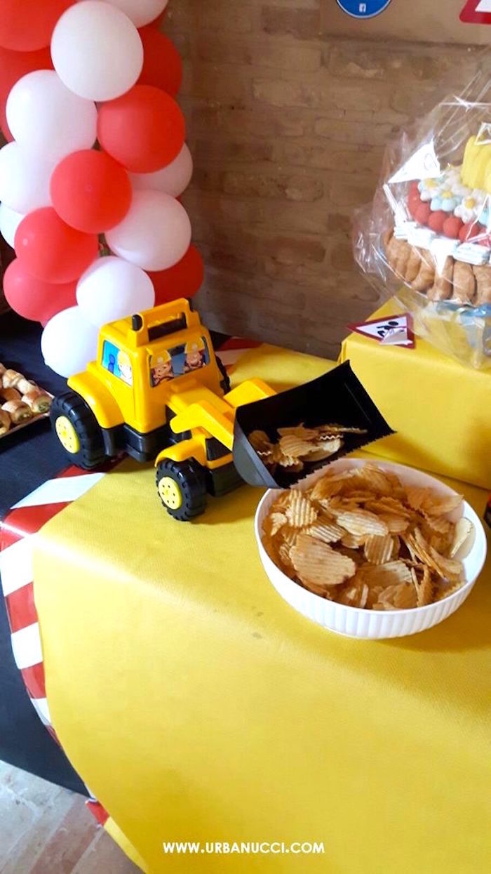 Front loader dumping chips from a Work in Progress Construction Baby Shower on Kara's Party Ideas | KarasPartyIdeas.com (5)