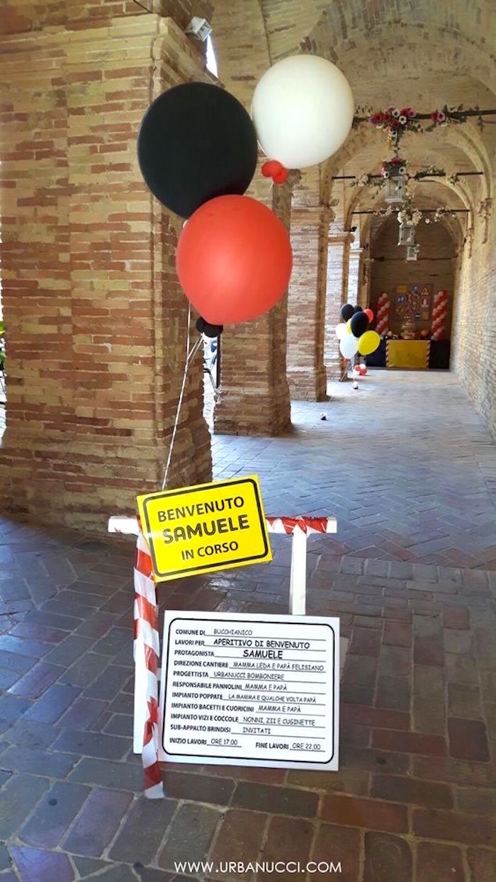 Construction barrier sign from a Work in Progress Construction Baby Shower on Kara's Party Ideas | KarasPartyIdeas.com (11)
