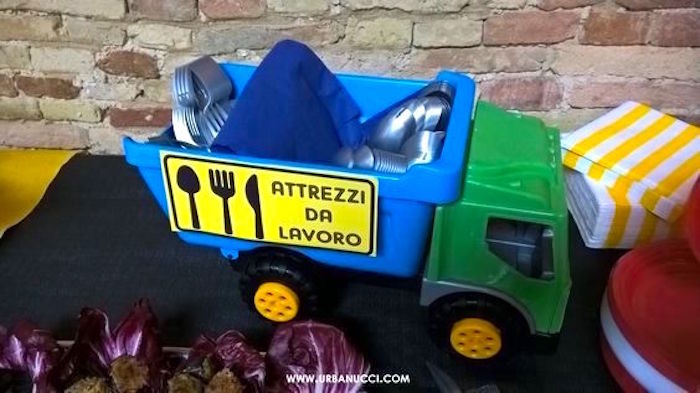 Utensil dump truck from a Work in Progress Construction Baby Shower on Kara's Party Ideas | KarasPartyIdeas.com (8)