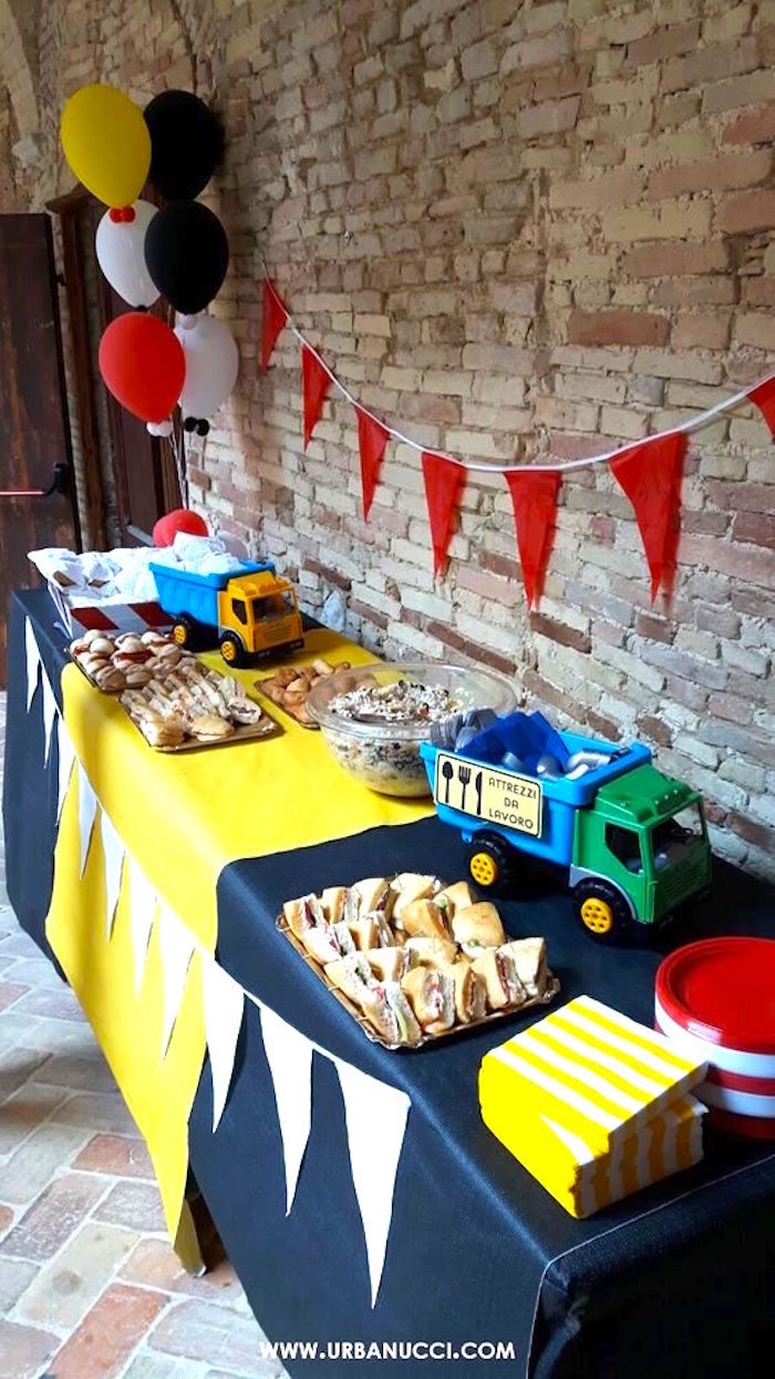 Food table from a Work in Progress Construction Baby Shower on Kara's Party Ideas | KarasPartyIdeas.com (7)