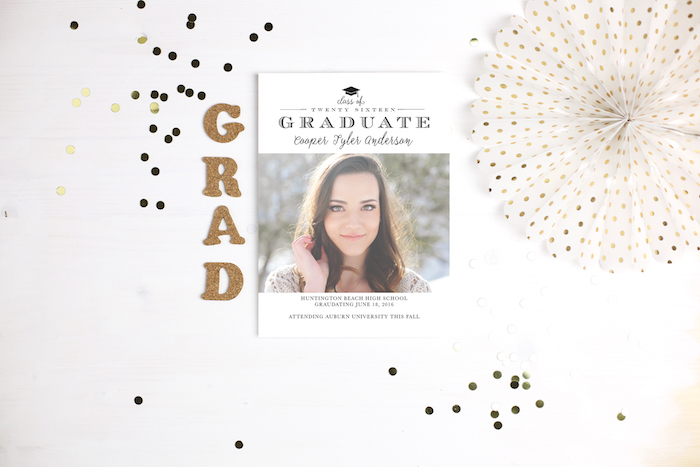 Basic Invite Graduation Invitation via KarasPartyIdeas.com #invitations #graudation #custominvites #personalizedgraduationannouncements