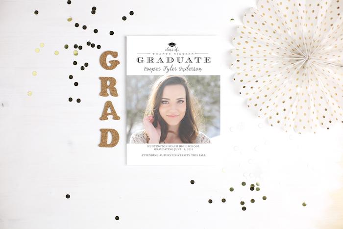 Basic Invite Graduation Invitation via KarasPartyIdeas.com #invitations #graudation #custominvites #personalizedgraduationannouncements