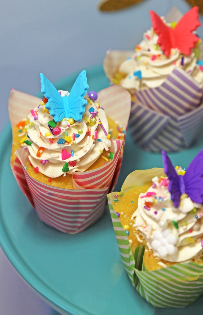 "Butterfly cupcake from ""A Girl is Blooming"" Spring Baby Shower on Kara's Party Ideas 