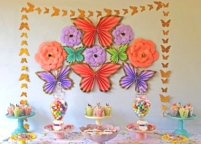 "Dessert table from ""A Girl is Blooming"" Spring Baby Shower on Kara's Party Ideas 