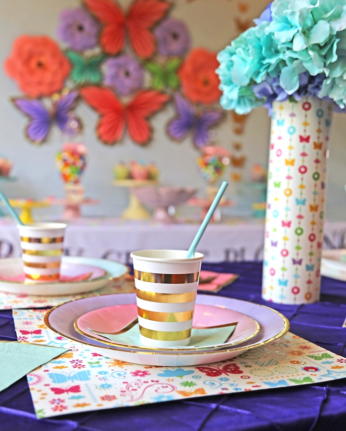 "Guest table from ""A Girl is Blooming"" Spring Baby Shower on Kara's Party Ideas 
