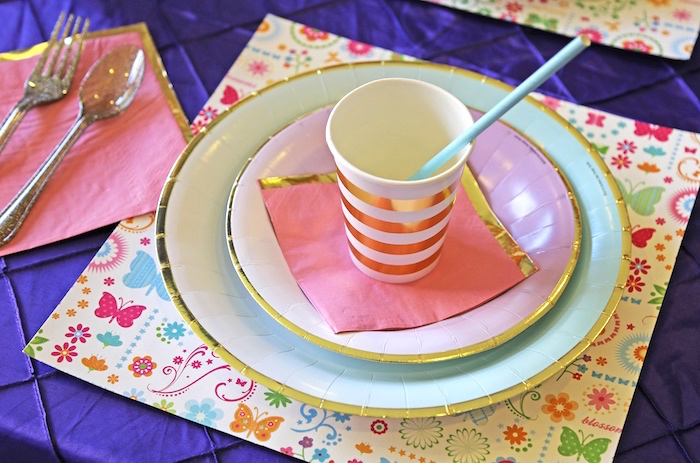 "Place setting from ""A Girl is Blooming"" Spring Baby Shower on Kara's Party Ideas 