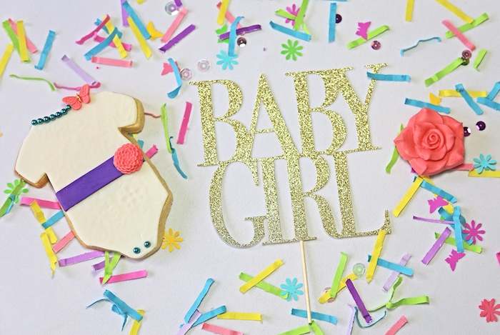 "Baby Girl cake topper + onesie cookie from ""A Girl is Blooming"" Spring Baby Shower on Kara's Party Ideas 