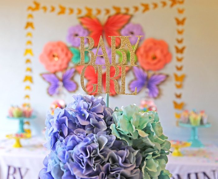 "Flower centerpiece from ""A Girl is Blooming"" Spring Baby Shower on Kara's Party Ideas 