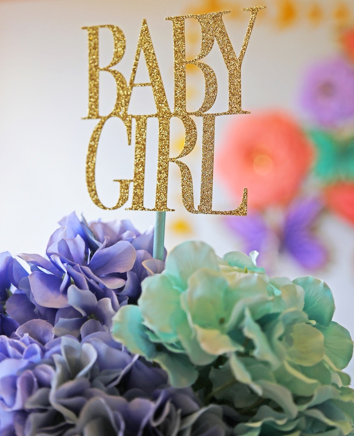 Floral centerpiece from a girl is blooming spring baby shower on karas party ideas