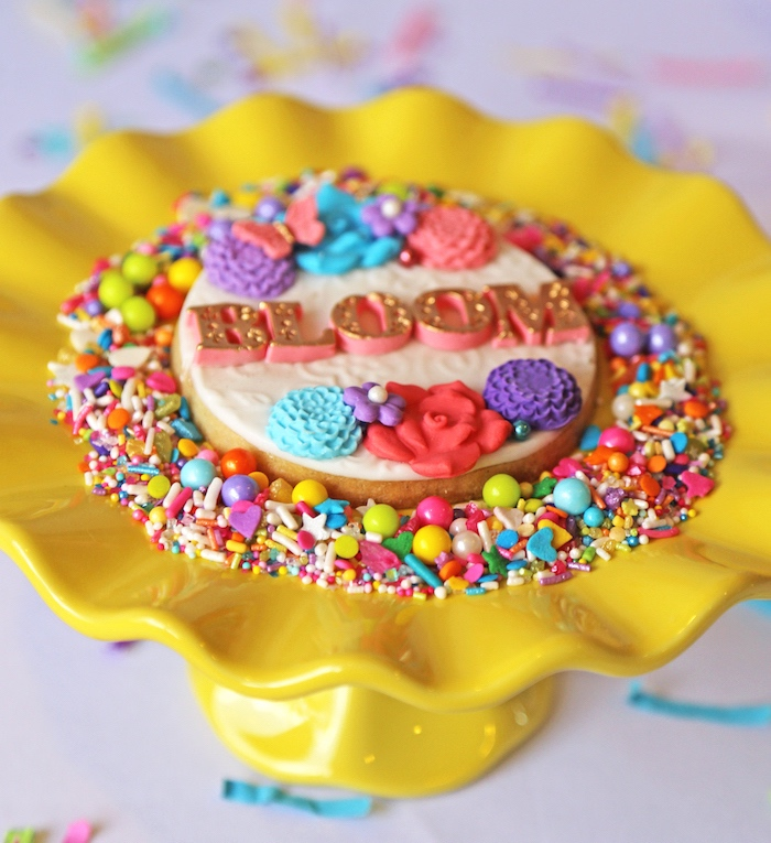 "Bloom cookie from ""A Girl is Blooming"" Spring Baby Shower on Kara's Party Ideas 