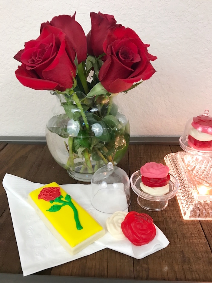 "Rose elements from a ""Be Our Guest"" Beauty and the Beast Party on Kara's Party Ideas 