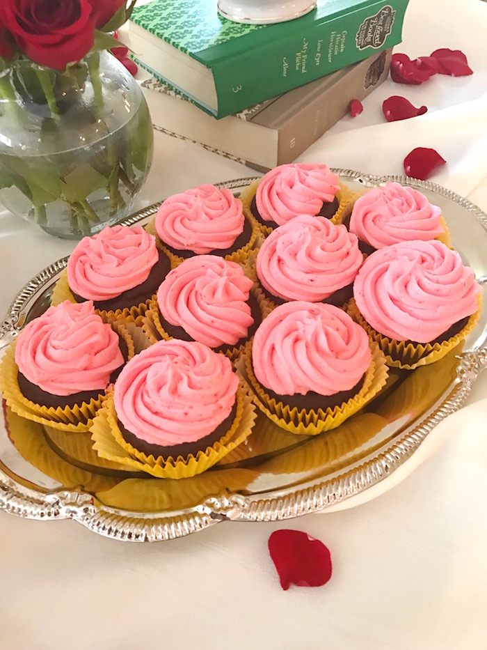 "Cupcakes from a ""Be Our Guest"" Beauty and the Beast Party on Kara's Party Ideas 