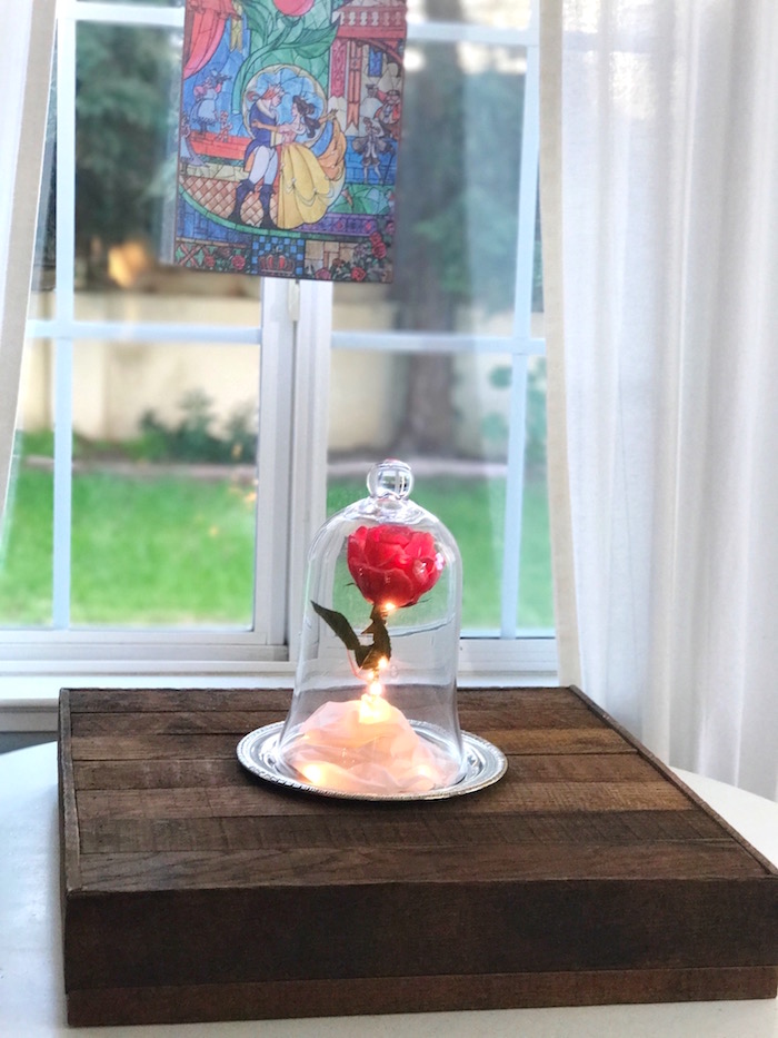 "The Enchanted Rose from a ""Be Our Guest"" Beauty and the Beast Party on Kara's Party Ideas 