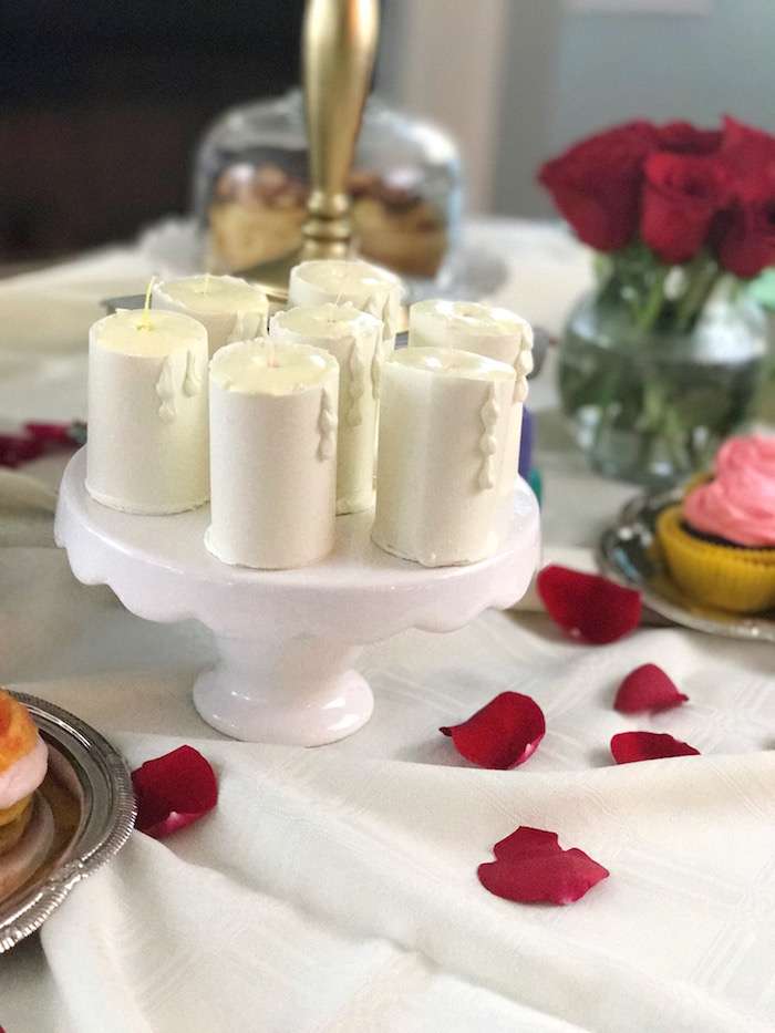 "White chocolate candle mousse from a Candles on a pedestal from a ""Be Our Guest"" Beauty and the Beast Party on Kara's Party Ideas 