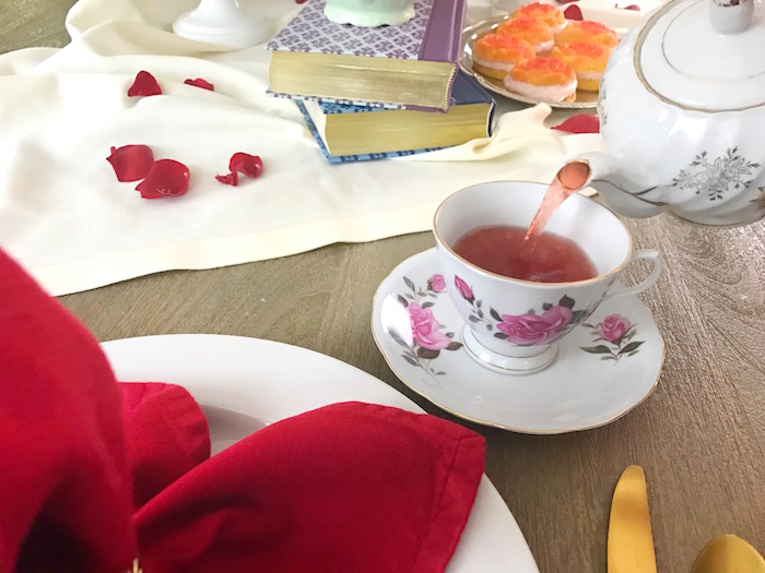 "Place setting from a ""Be Our Guest"" Beauty and the Beast Party on Kara's Party Ideas 