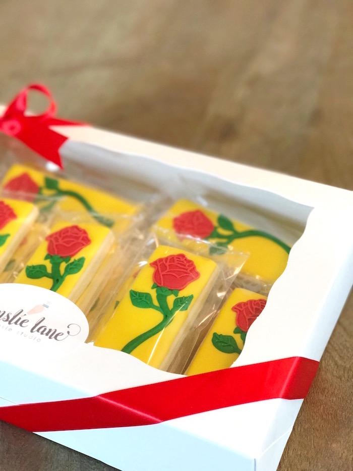"Enchanted Rose Cookies from a ""Be Our Guest"" Beauty and the Beast Party on Kara's Party Ideas 