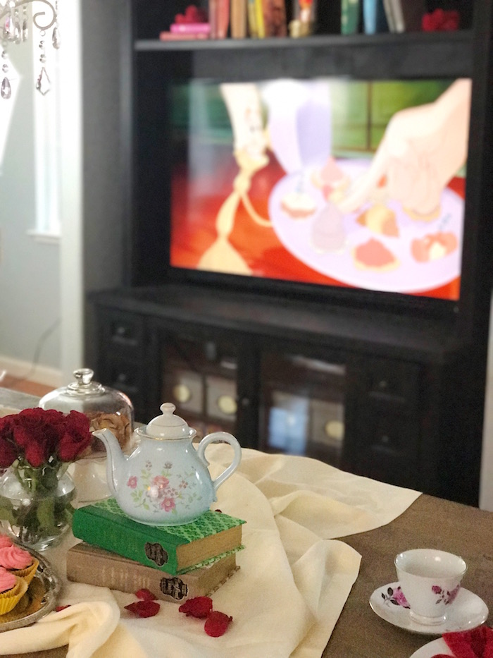 "Guest table detail from a ""Be Our Guest"" Beauty and the Beast Party on Kara's Party Ideas 