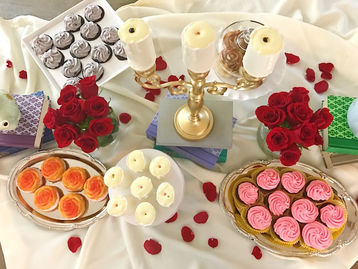 "Dessert tabletop from a ""Be Our Guest"" Beauty and the Beast Party on Kara's Party Ideas 