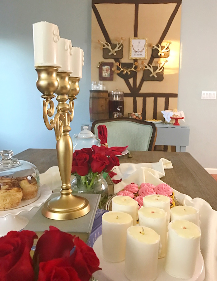 "Dining tablescape from a ""Be Our Guest"" Beauty and the Beast Party on Kara's Party Ideas 