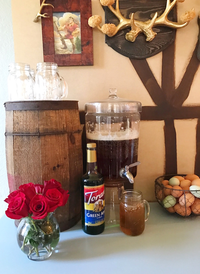 "Barrel and beverages from a ""Be Our Guest"" Beauty and the Beast Party on Kara's Party Ideas 