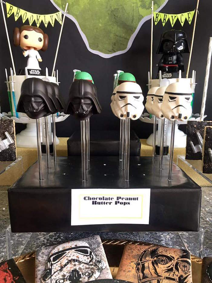 """Star Wars chocolate peanut butter pops from a """"May Their Fourth Be With You"""" Star Wars 4th Birthday Party for Twins on Kara's Party Ideas 