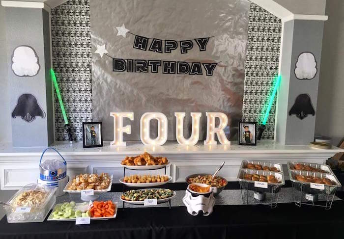 """Star Wars Food Table from a """"May Their Fourth Be With You"""" Star Wars 4th Birthday Party for Twins on Kara's Party Ideas 