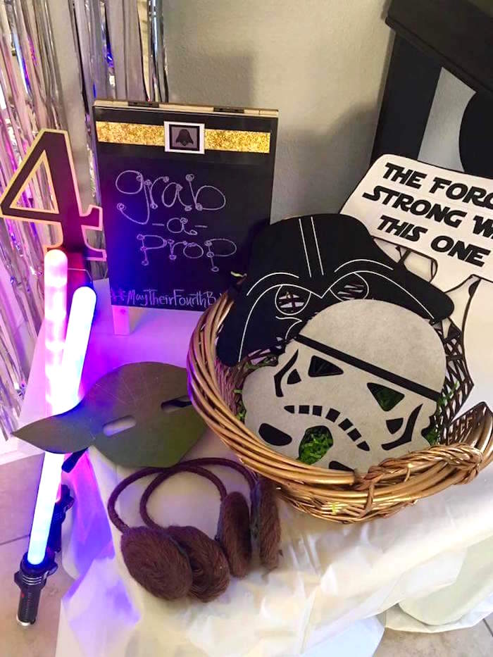 """Star Wars photo booth props from a """"May Their Fourth Be With You"""" Star Wars 4th Birthday Party for Twins on Kara's Party Ideas 