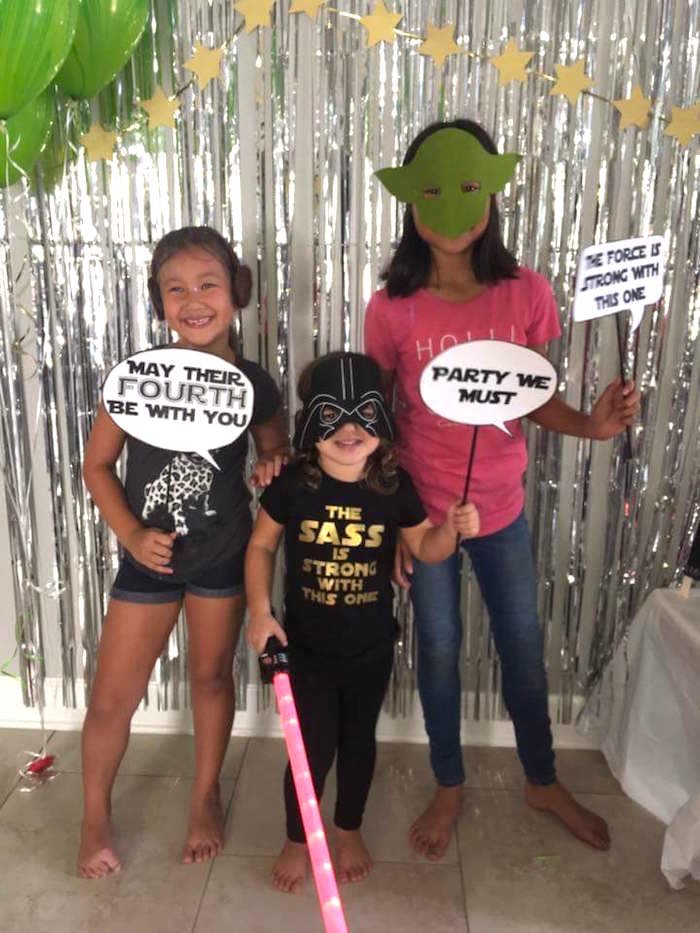 """Star Wars photo booth from a """"May Their Fourth Be With You"""" Star Wars 4th Birthday Party for Twins on Kara's Party Ideas 