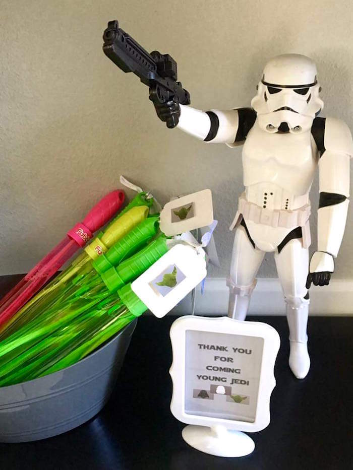"""Bubble wand light saber favors from a """"May Their Fourth Be With You"""" Star Wars 4th Birthday Party for Twins on Kara's Party Ideas 