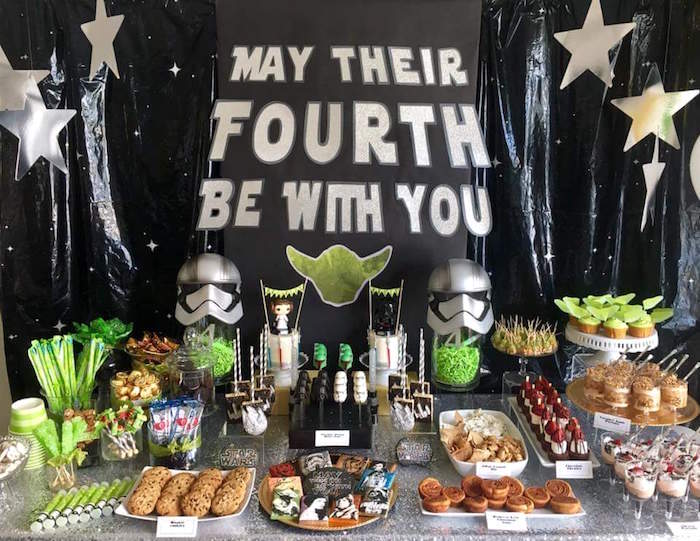 kara 39 s party ideas may their fourth be with you star wars 4th birthday party for twins kara. Black Bedroom Furniture Sets. Home Design Ideas