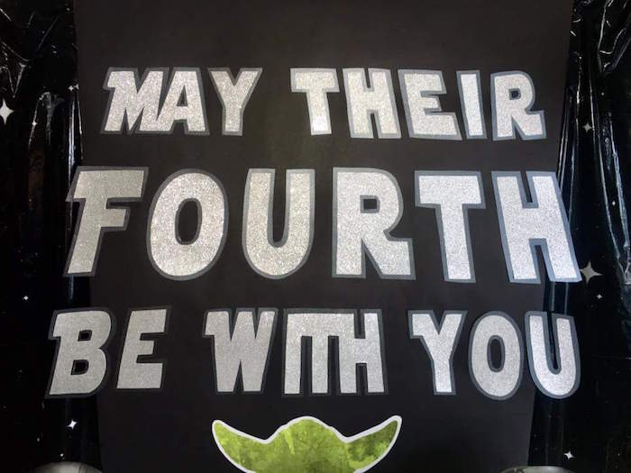 """Galaxy backdrop from a """"May Their Fourth Be With You"""" Star Wars 4th Birthday Party for Twins on Kara's Party Ideas 